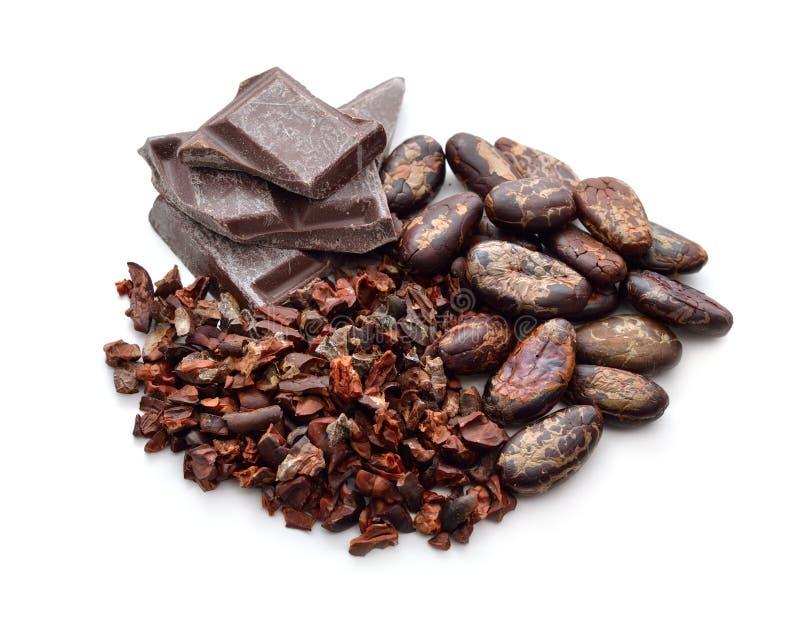 Продукты какао (фасоли, nibs, шоколад) стоковые фото