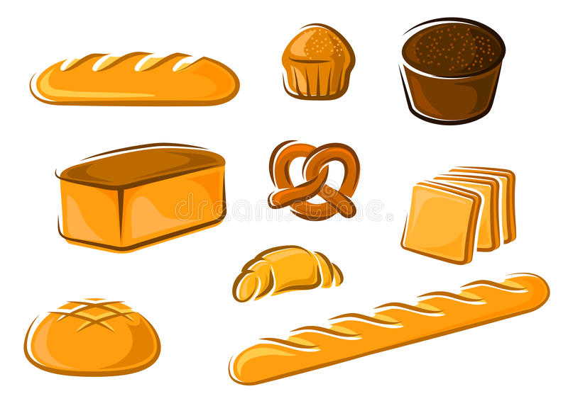 Продукты хлебопекарни шаржа для дизайна магазина хлебопека бесплатная иллюстрация