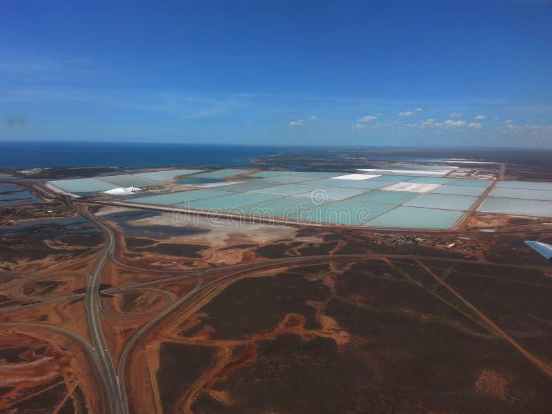 Продукция соли ponds порт Hedland западная Австралия стоковая фотография rf