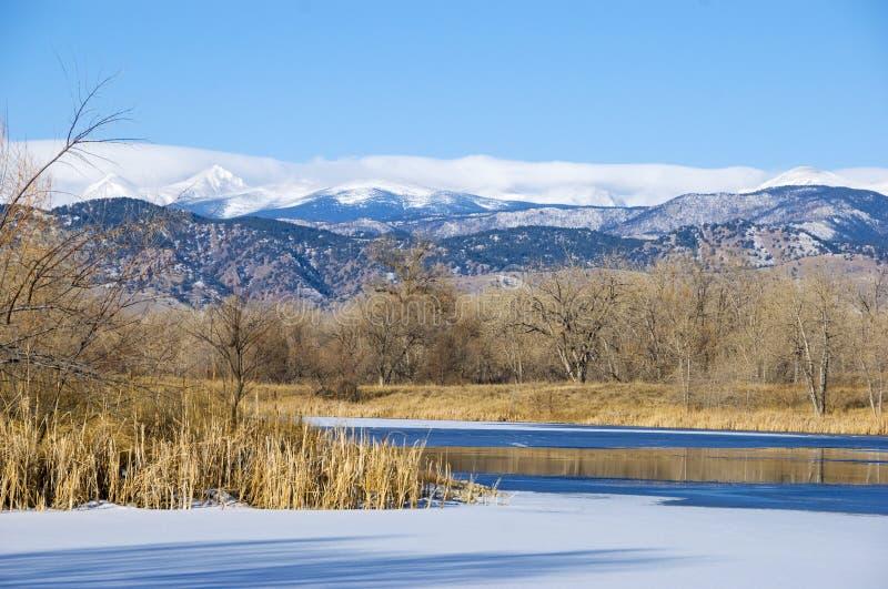 Пруд или озеро на прерии Колорадо стоковые фотографии rf