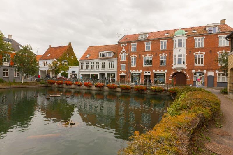Пруд города Svendborg стоковое изображение rf