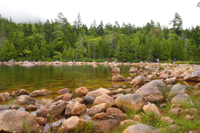 Пруд Джордана на национальном парке Acadia стоковое изображение rf