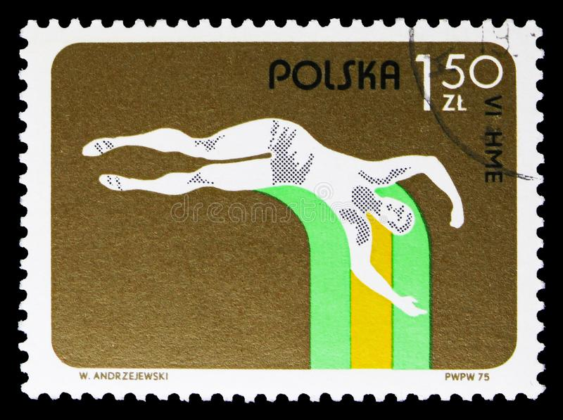 Прыжок с шестом, 6-ые европейские крытые атлетические чемпионаты, serie Катовице, около 1975 стоковое фото rf