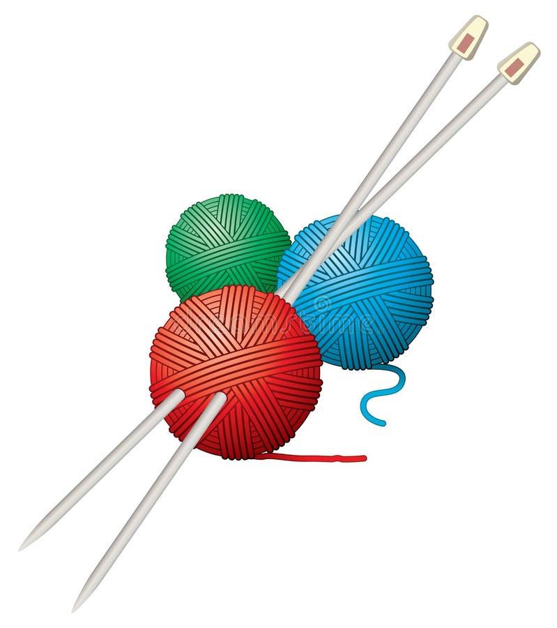 пряжа игл шариков иллюстрация вектора