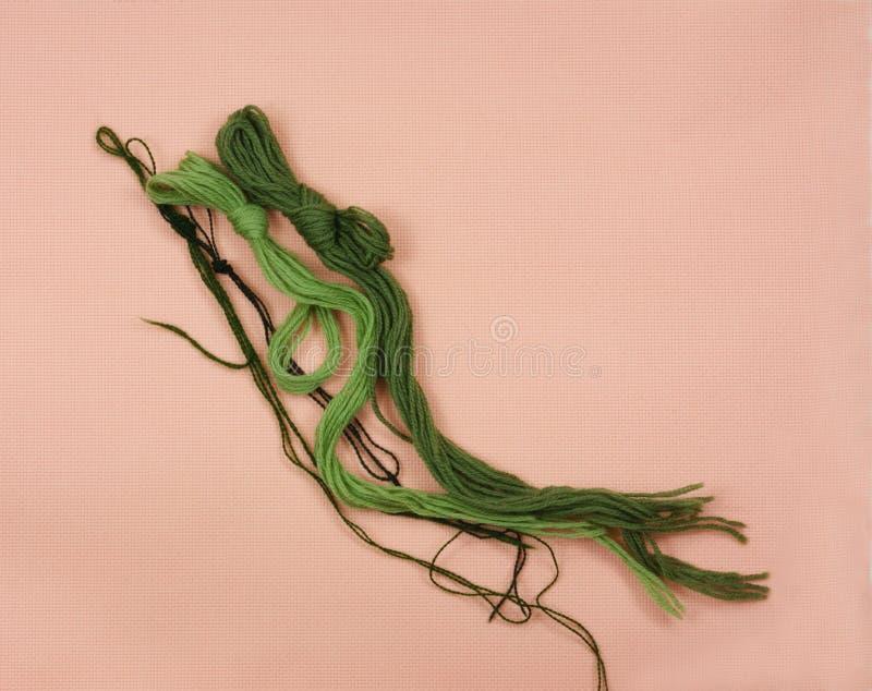 пряжи зеленого цвета коралла aida стоковые изображения rf