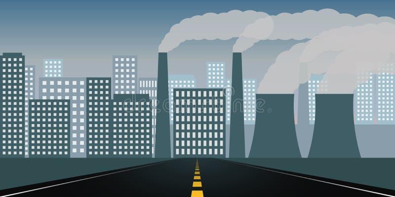 Прямая дорога к городу и загрязнение индустрией иллюстрация вектора