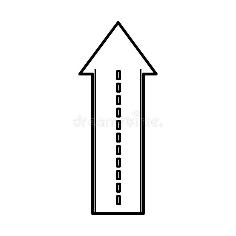 Прямая дорога с значком изолированным стрелкой бесплатная иллюстрация