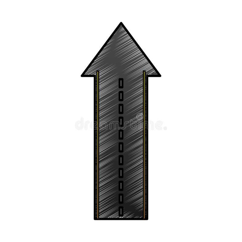 Прямая дорога с значком изолированным стрелкой иллюстрация штока
