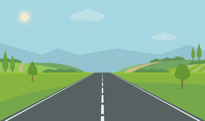 Прямая пустая дорога через сельскую местность Зеленые холмы, голубое небо, луг и горы иллюстрация штока
