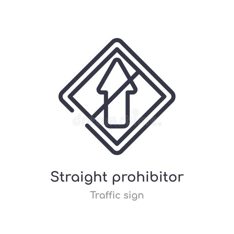 прямое prohibitor отсутствие значка плана входа изолированная линия иллюстрация вектора от собрания дорожного знака editable тонк бесплатная иллюстрация