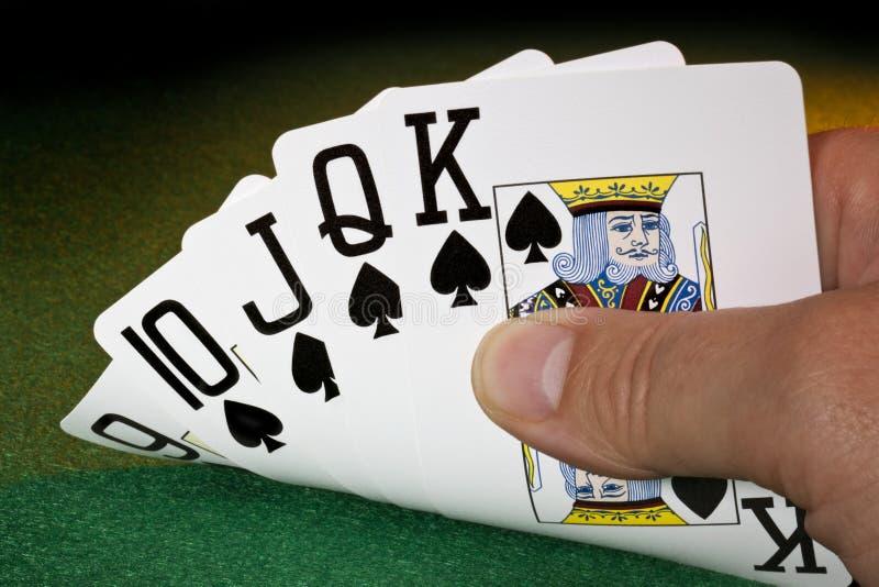 Прямой приток - покер - выигрывая рука стоковые изображения