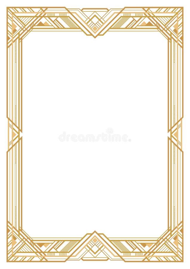 Прямоугольная золотая ретро рамка иллюстрация вектора