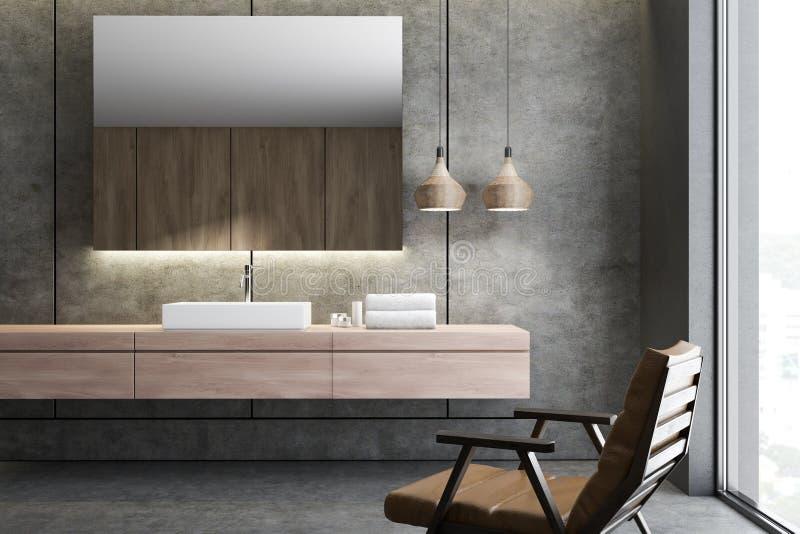 Прямоугольная раковина bathroom зеркала, кресло бесплатная иллюстрация