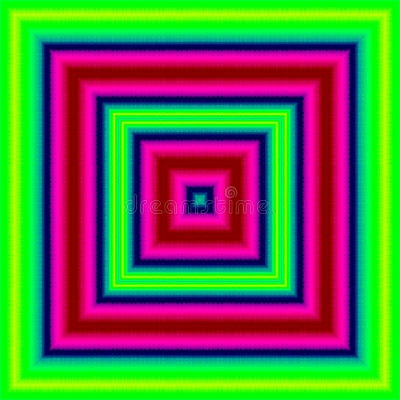 Прямоугольная форма неонового зеленого, розового, голубого квадрата, безвкусного пестротканого абстрактного знамени бесплатная иллюстрация