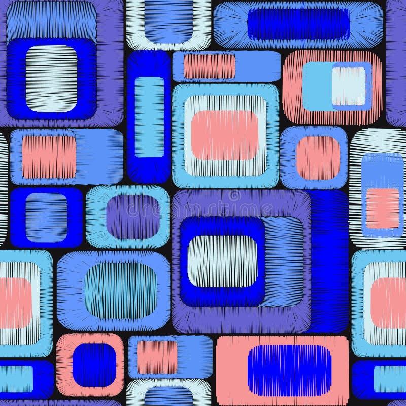 Прямоугольники вышивки геометрическим покрашенные орнаментом иллюстрация вектора