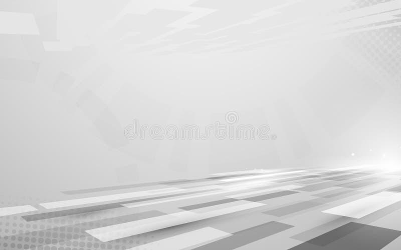 Прямоугольников высокой технологии абстрактной технологии цвет цифровых серый в предпосылке концепции перспективы текст космоса в иллюстрация вектора