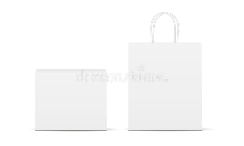 Прямоугольные коробка и сумка иллюстрация вектора
