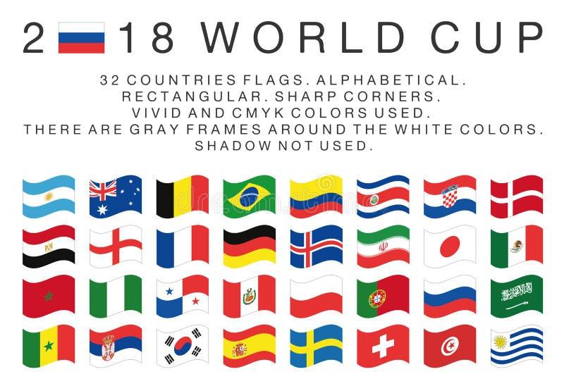 Прямоугольные флаги стран 2018 кубков мира иллюстрация штока