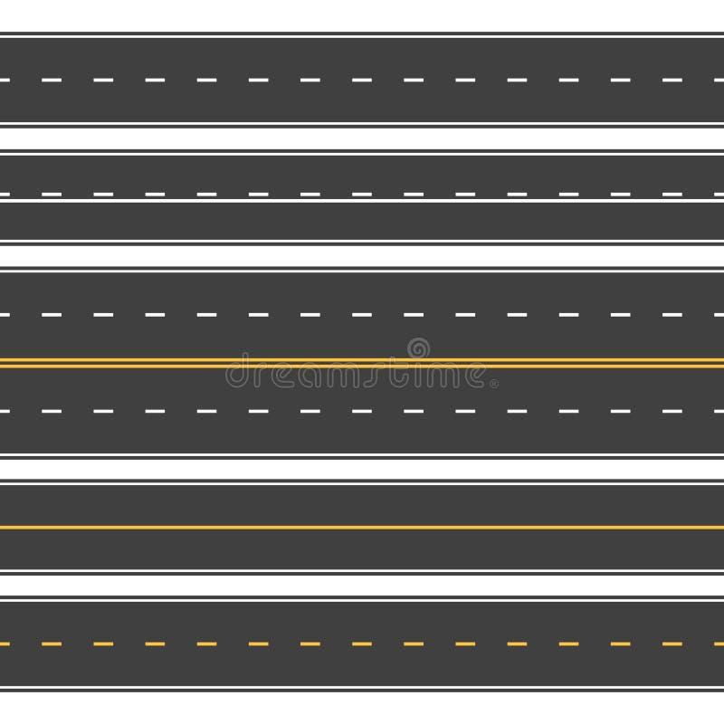 Прямые дороги безшовные Бесконечная улица асфальта, проезжая часть взгляда сверху Пустой горизонтальный вектор шоссе иллюстрация штока