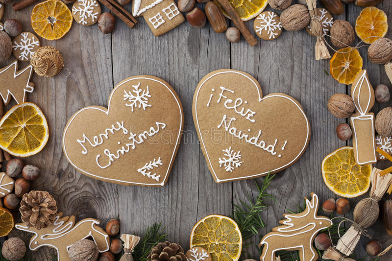 Пряники рождества сердца форменные стоковая фотография