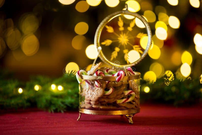 Пряник конца-вверх и опарник тросточки конфеты стоковая фотография rf