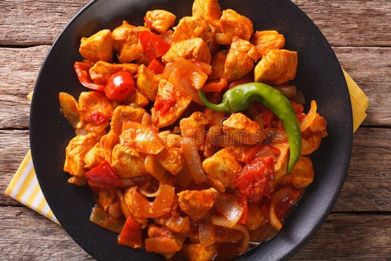 Пряное jalfrezi цыпленка с концом-вверх перца и лука horizonta стоковое фото rf