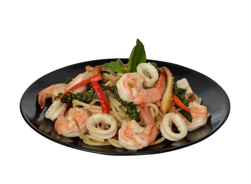 Пряные спагетти морепродуктов стоковая фотография rf