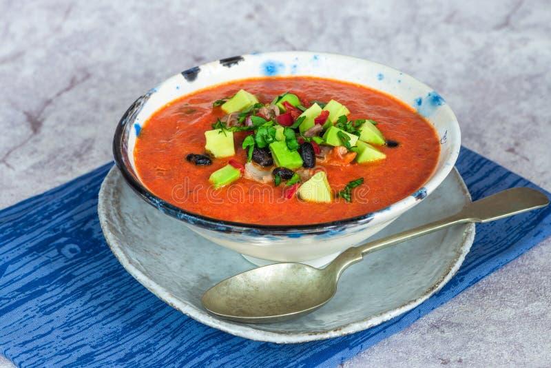 Пряный мексиканский суп жареного цыпленка и томата с черными фасолями стоковые фото