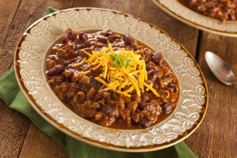 Пряный домодельный суп Carne жулика Chili стоковые изображения rf