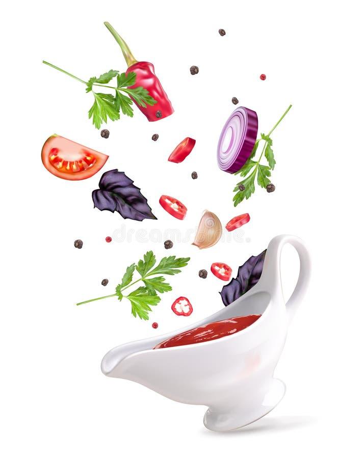 Пряный соус в соус-баке с овощами иллюстрация штока