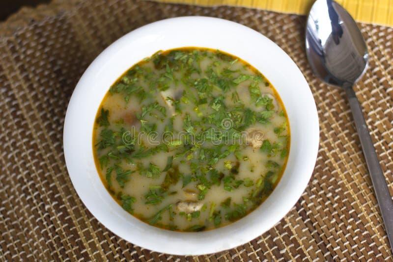 Пряный суп Том Ям с креветками и зелеными цветами стоковые изображения