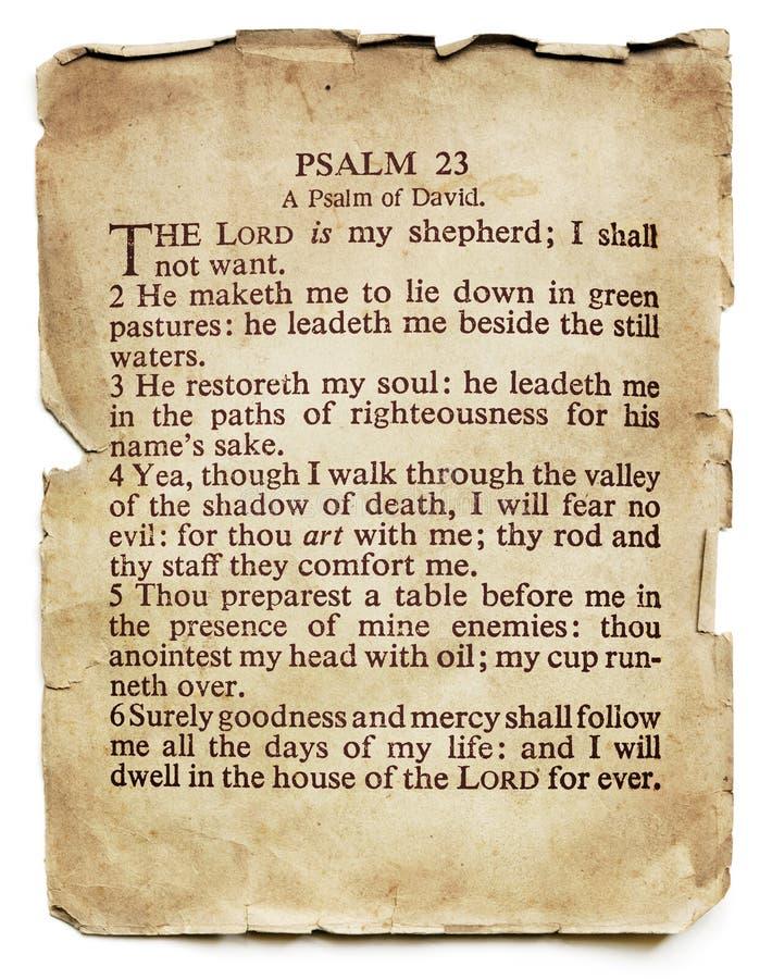 Псалом 23 на старой изолированной бумаге стоковое изображение rf