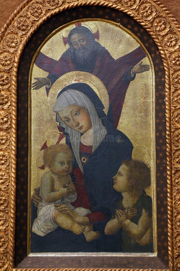 Псевдо пристань Francesco Fiorentino: Бог отец благословляет Богоматерь с младенцем с St. John стоковое изображение