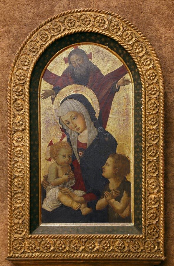 Псевдо пристань Francesco Fiorentino: Бог отец благословляет Богоматерь с младенцем с St. John стоковые изображения