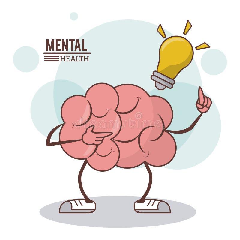 Психические здоровья, концепция освещения шарика мозга шаржа иллюстрация вектора