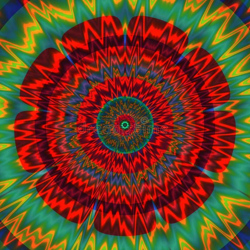 Психоделическая централизованная картина - флористический форменный дизайн иллюстрация вектора