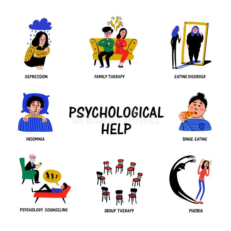Психологическая помощь Установите значков руки вычерченных на теме психологии Умственные проблемы, разлады и фобии Стиль Doodle иллюстрация вектора