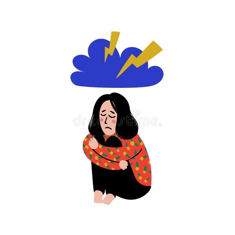Психология Депрессия Грустная, несчастная девушка, сидя под дождевым облаком Молодая женщина в депрессии обнимая ее колени и иллюстрация вектора