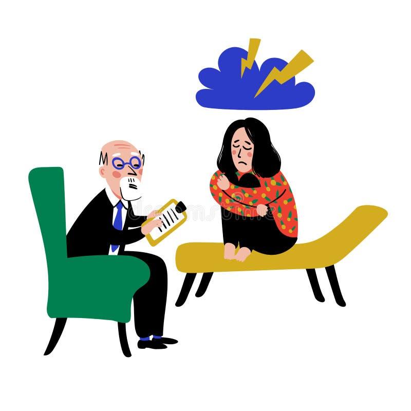 Психология Психологическая помощь Доктор и пациент, девушка на софе говоря с вектором наивного стиля терапевта плоским иллюстрация штока