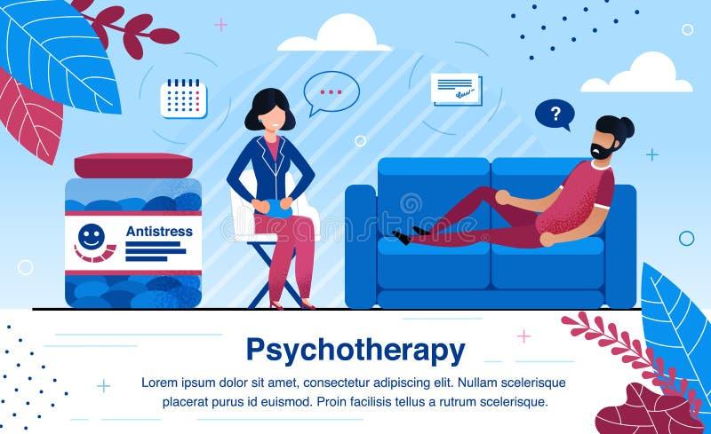 Психотерапевт-терапевт, практикующий плоский векторный рекламный баннер иллюстрация вектора