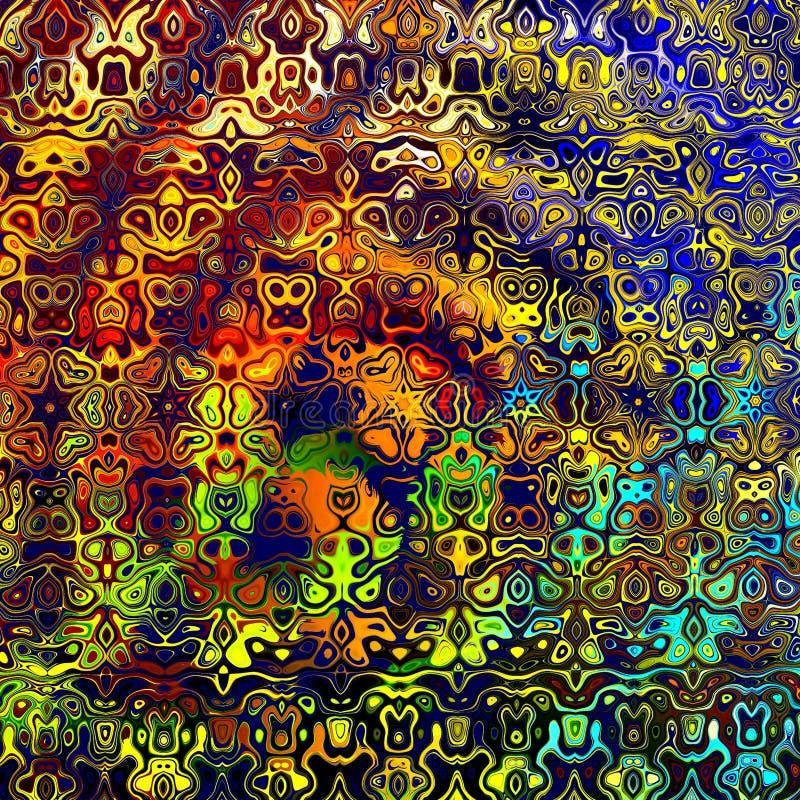 Психоделическая красочная иллюстрация предпосылки искусства Стиль компьютерной технологии Элемент украшения детальная текстура аб бесплатная иллюстрация