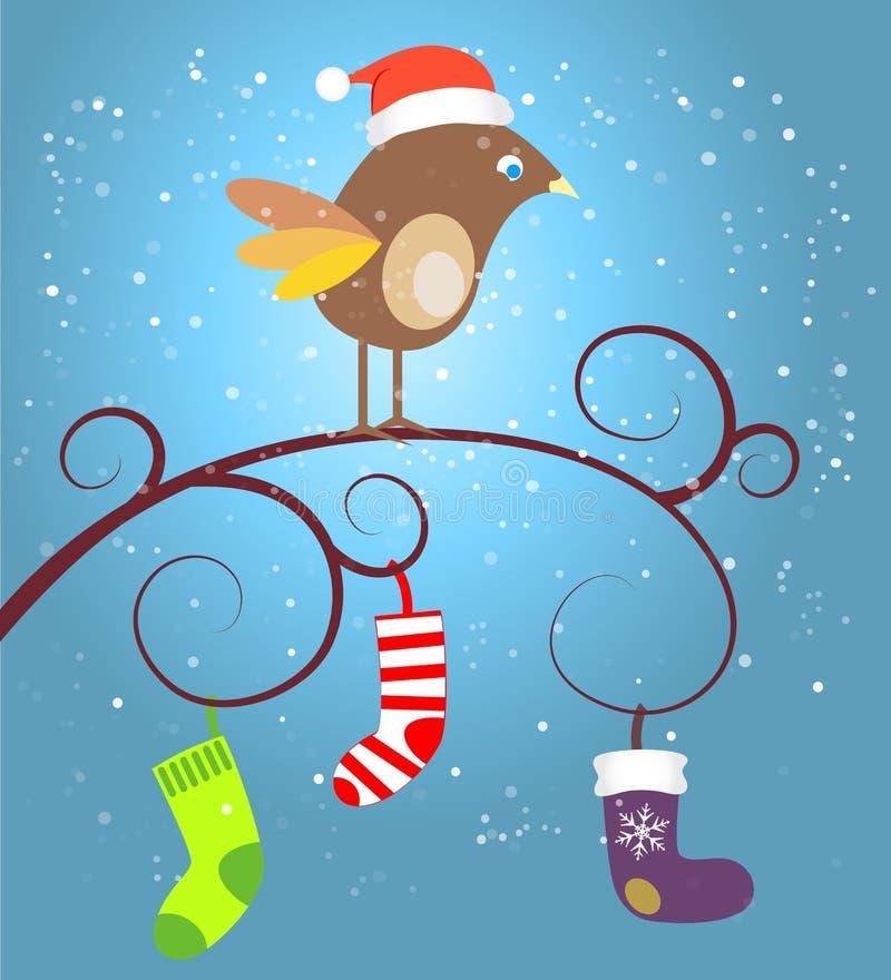 Пташка на рождестве бесплатная иллюстрация