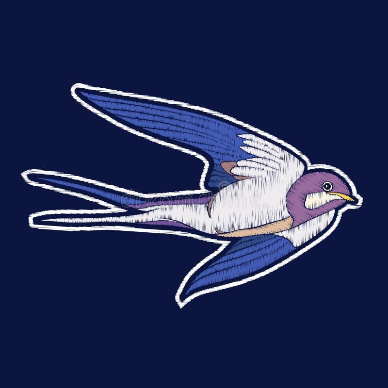 Птица ласточки вышивка значков заплаты fachion иллюстрация вектора