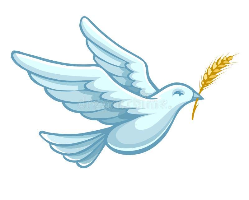 Птица голубя летания с вектором уха пшеницы иллюстрация вектора