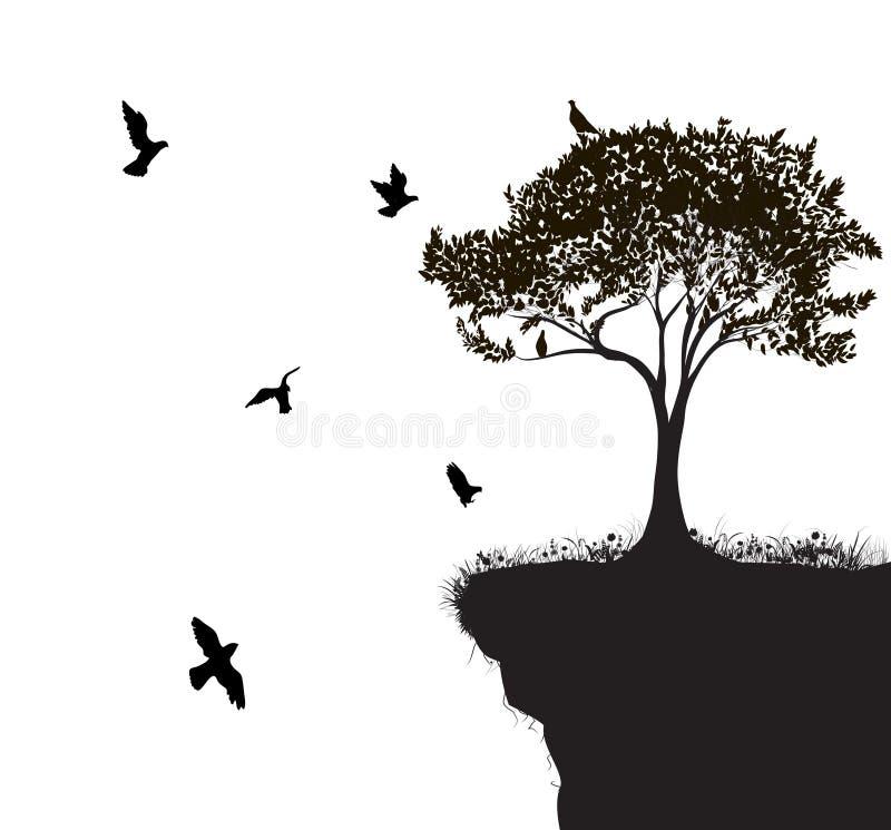 Птица дерева иллюстрация вектора