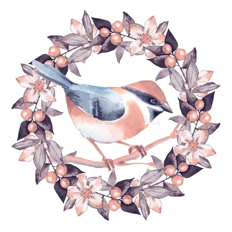 Птица и флористический венок бесплатная иллюстрация
