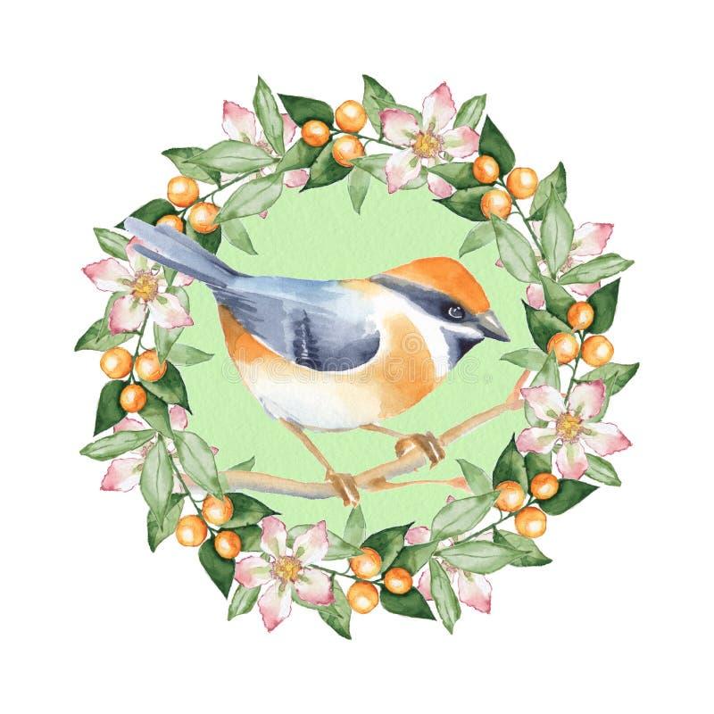 Птица и флористический венок иллюстрация вектора