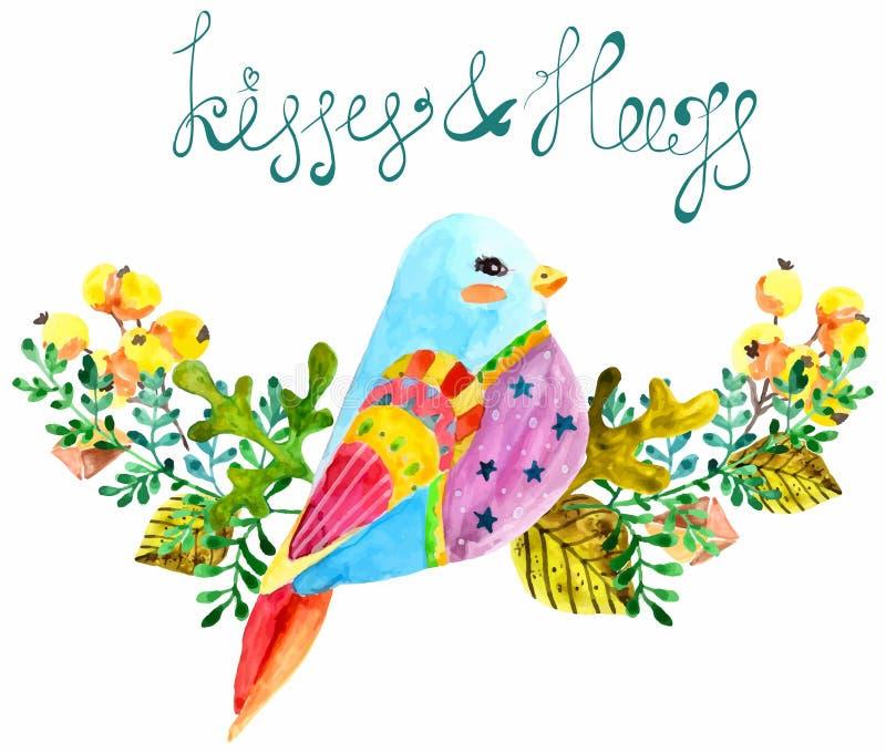 Птица и цветки акварели красивые иллюстрация вектора