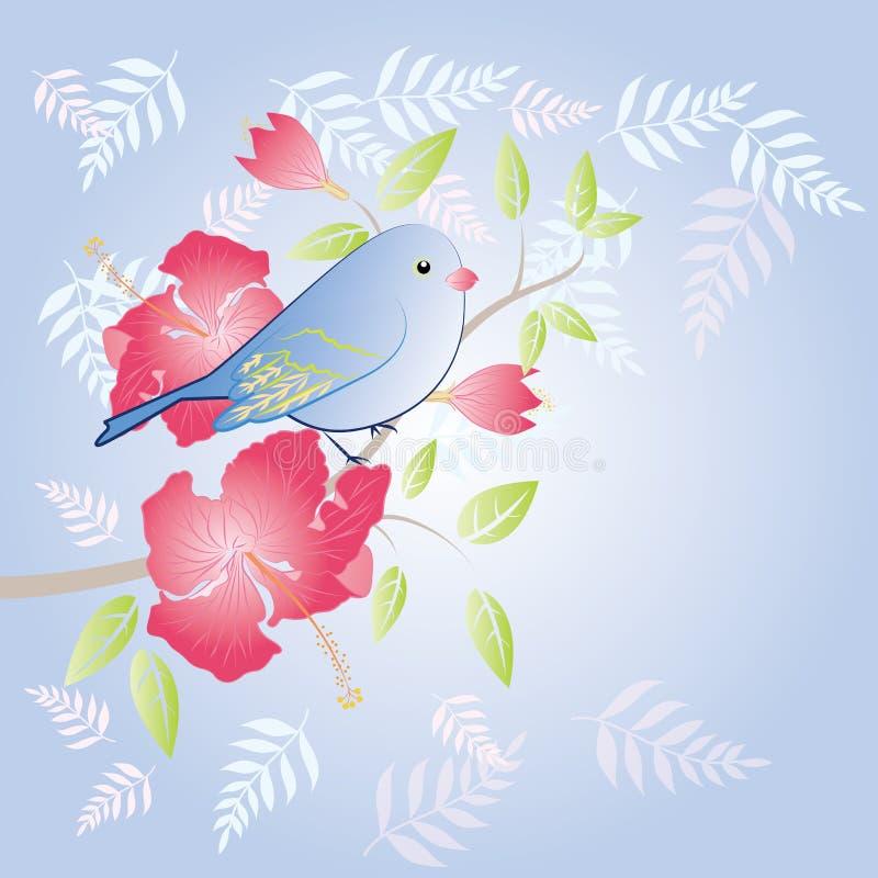 Птица и цветок иллюстрация вектора