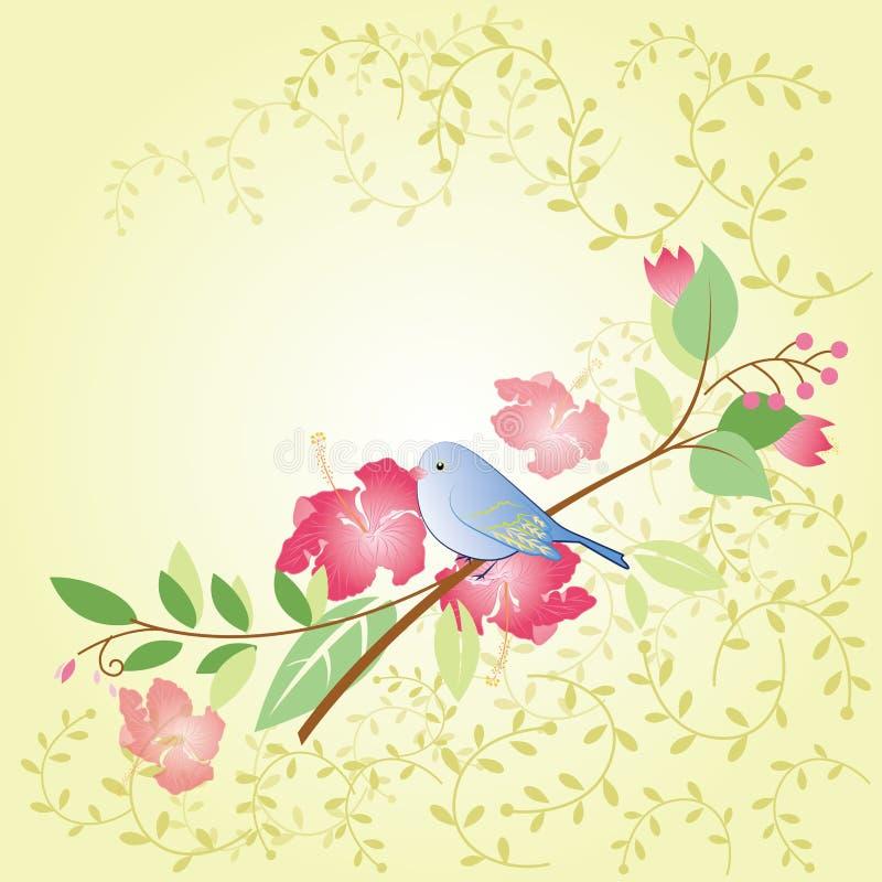 Птица и цветок бесплатная иллюстрация